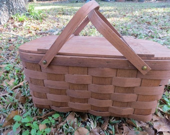 Vintage Wooden Woven Picnic Basket by Basketville Vermont