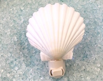 Seashell Night Light - Choose Scallop Shell, Sand Dollar with Starfish or Conus Shell