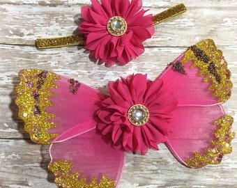 Newborn Butterfly Wings, Pink & Gold, Luxe Fancy Fairy Wings, Newborn Headband, Infant Headband, Photographer Prop, Newborn Photos