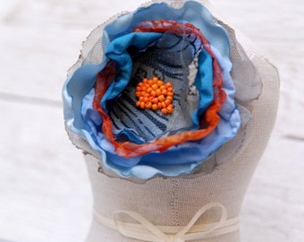 SALE SALE SALE Flower hair pin in blue and orange, Large fabric flower hair clip, Tagt
