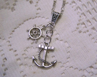 ANCHOR Necklace - Silver - Ships Wheel - Large Dimensional Fouled Anchor Pendant - At the Helm - Anchor and Rope - Ships Wheel, Sorority