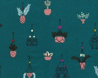 Cotton + Steel - Macrame Collection - Hang it Up in Teal
