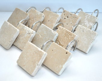 Tumbled Travertine Tile Shower Curtain Hook Set - Ready to Ship