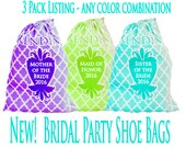 Mother of the Bride Bag, 3 Shoe Bags, Wedding, Bridesmaid Gifts, Maid of Honor Gifts, Wedding Shoe Bags, Travel Shoe Bags, Lingerie Bags