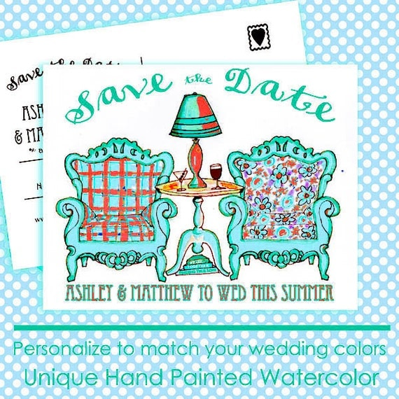 Save the Date Wedding Postcards, Digital Download, Wedding Invitations, Watercolor Illustration, Save the Dates, Wedding Announcements
