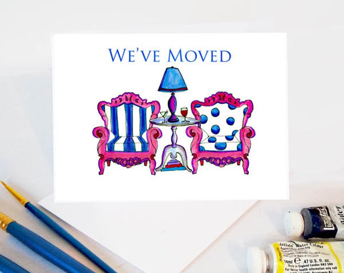 We've Moved Stationery, Watercolor We've Moved Cards, Set of 6 watercolor cards, Greeting cards, custom art cards, moving card