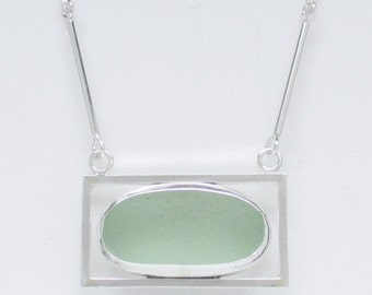 Sea Glass Jewelry - Sterling Seafoam Scottish Sea Glass Necklace