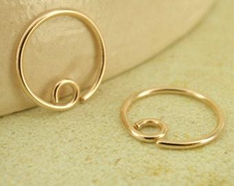 20 gauge Solid 14kt Gold Hoop Earrings - 10mm - Switch Earring System