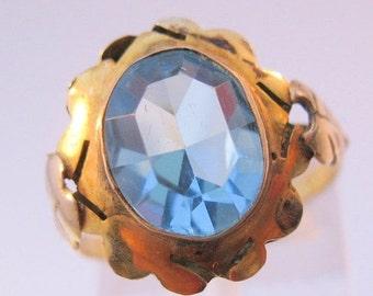 HALLOWEEN SALE Vintage 10K Yellow Gold Blue Topaz Stone Ring Size 7