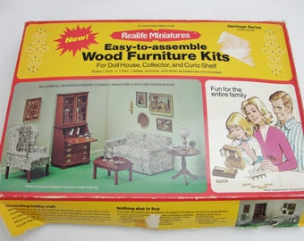 Vintage dollhouse living room kit, Realife Miniatures Heritage Series living room