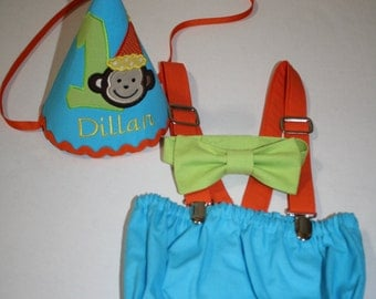 monkey birthday outfit 1 zoo circus birthday outfit first birthday outfit cake smash outfit 1st birthday hat suspenders diaper cover bow tie