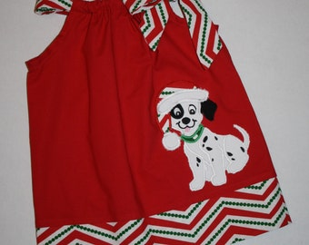 puppy dog Pillowcase dress Christmas dresses for toddler baby girls, appliqued dog, Christmas outfit
