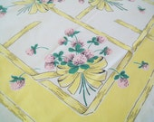 Midcentury Linen Tablecloth, Yellow, Floral, 1950s, kitchen
