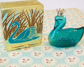 Turquoise Glass Swan Bottle, cologne bottle, Royal Swan, Avon
