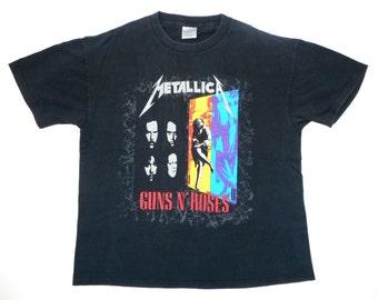 Metallica Vintage 90's Guns N Roses Concert T Shirt 1992 Tour Dates Heavy Metal XL