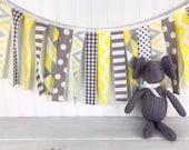 Fabric Strip Garland,Rag Garland,Bunting Banner,Nursery Decor,Photography Prop,Baby Shower,Nursery Decor Garland,Yellow,Grey,Gray,Chevron