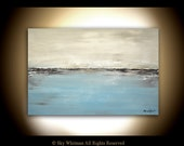 Large Original Abstract Landscape Painting Blue Modern Contemporary Art Seascape 24 X 36 Oil Painting by Sky Whitman