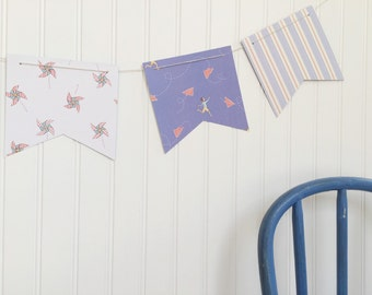 boy / baby / blue banner garland flag / baby shower / boy room