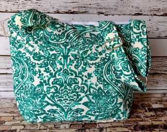 Camera Bag in Teal Blue / cross body / water resistant Cotton base / dslr purse / tote bag / Darby Mack made in America, in stock