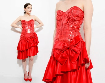 Vintage 80s Red Satin Sequin Dress Strapless Bustier 1980s Ruffled Mini Skirt Party Prom Dress with Bow Extra Small XS S