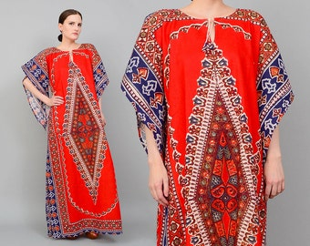 Vintage 70s Red Ethnic Dashiki Caftan Angel Sleeve 1970s Bohemian Hippie Festival Maxi Dress 100% Cotton Small Medium S M