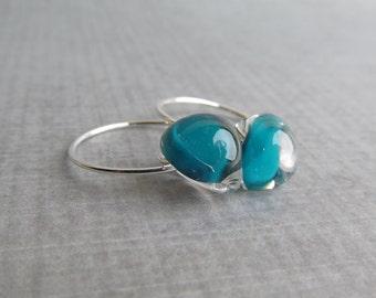 Dark Aqua Earrings, Aqua Blue Lampwork Glass Earrings, Small Dark Aqua Hoop Earrings, Sterling Silver Wire Earrings, Small Silver Wire Hoops