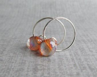 Amber Brown and Blue Earrings, Small Wire Earrings, Silver Hoops, Lampwork Glass Drop Earrings, Sterling Silver Small Hoop Earrings