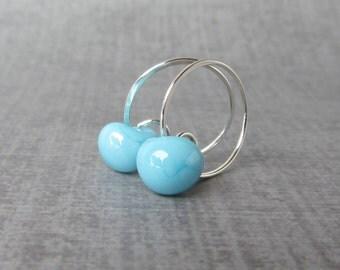 Sky Blue Hoop Earrings, Light Blue Earrings, Small Hoops, Small Wire Earrings, Pale Blue Lampwork Earrings, Sterling Silver Earrings Hoops