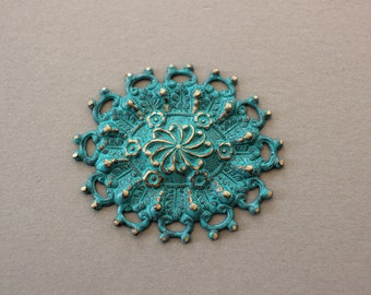Verdigris Patina Unusual Oxidized Brass Floral Filigree Finding