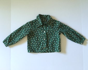 Vintage Toddler Girl's 70's Floral Blouse, Green, Snap Button, Long Sleeve (18-24 mos)