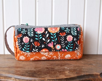 The Jade Pouch in Orange and Black Floral with linen - toiletry or cosmetic bag