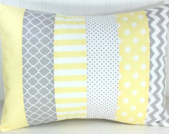 Pillow Cover, Unisex Nursery Decor, 12 x 16 Inches, Nursery Pillow Cover, Unisex, Baby Yellow, Soft Yellow, Yellow, Gray, Grey, Chevron