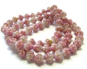 Pink Czech Glass Beads - Sweet Pea w/ Gold Bali Style (6mm) - Czech Beads