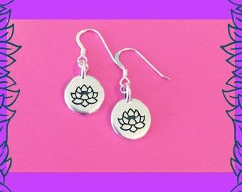 Silver lotus flower earrings, yoga jewellery, elegant gift for her, UK