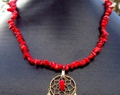 SALE REALLY RED Coral dream catcher necklace, dreamcatcher necklace with red coral
