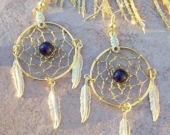 ON SALE Dreamcatcher earrings, GOLDSTONE & Gold Feathers, dream catcher earrings, gold dangle earrings, feather earrings, large earrings, dr
