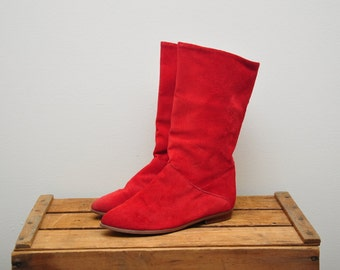 vintage 1980s suede cherry red slouch boots / bright red leather pirate boots / size US 8 EURO 38.5