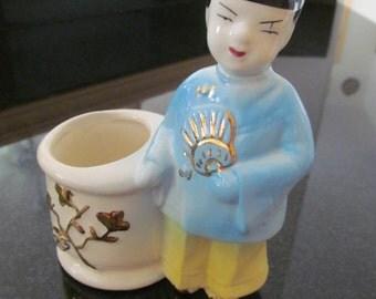 Vintage Chinese Figurine Planter or Pen Holder