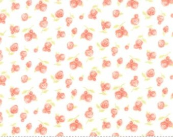 Coral Pink Posy FLANNEL.. Sweet Baby Collection .. Moda Fabrics ..  Blossom Cloud 35283 11F