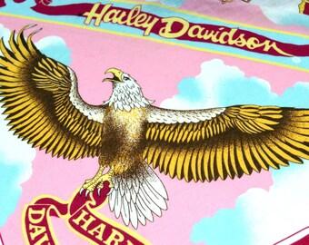 Vintage 80s Harley Davidson Eagle Rose Flower Pink Hankerchief Scarf Bandana - #B43