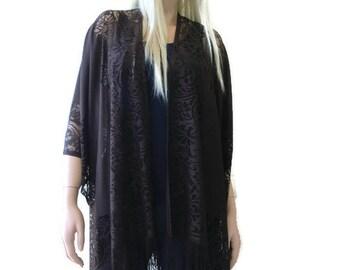 dark brown lace Kimono-Bohemian Lace Kimono - Chocolate brown-Fringe kimono cardigan-Oversize kimono