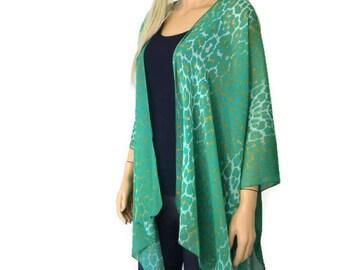 Boho Kimono- Jade Green,golden ochre kimono -Lagenlook style-Kimono cardigan -  Chiffon summer collection