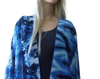 Kimono/ Kimono cardigan-Atlantic colors-Ocean colors,Shades of Blue-chiffon Ruana
