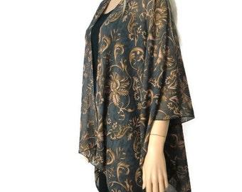 Boho Kimono cardigan - Brown Black/charcoal-Damask print-chiffon kimono--Ruana-Many colors