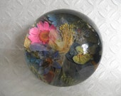 Paperweight with Pressed Flowers-Sentimental Favorite Flowers-Window Into The Garden Domed Glass Pressed Flower Paperweight-Gifts Under 40