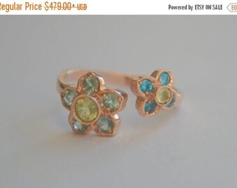 SALE Victorian Inspired Two Flower Open Ring in Rose Gold with Chrysoberyl, Apatite, and Tourmaline