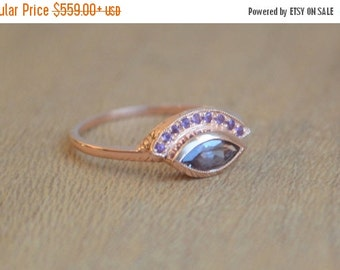 SALE Engraved Fan Ring in 14 K Rose Gold with Color Change Garnet Marquis and Amethyst Melee