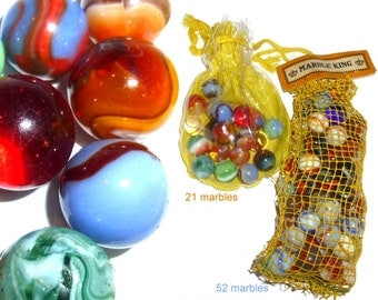 Vintage Old Glass Marbles.  Early Marble King Mesh Bag Circa 1950. Estate Collection. About 73 Marbles. Made in USA.