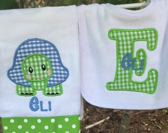 Turtle burpcloth & Bib Set