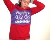 Red Pink Purple Athletic QUEST COAST Hoodie, Medium Hoodie, Knit Hoodie, Color Block Pullover Printed Sweatshirt Surf Surfer Pnw West Coast